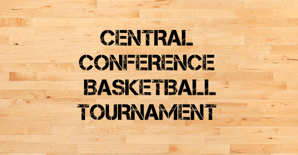 Basketball Court floor in the background with the words Central Conference Basketball Tournament overlaid on top.
