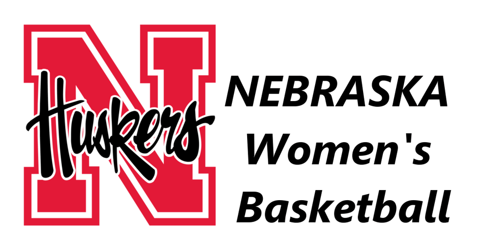 Husker Mascot logo on the left and the words Nebraska Women's Basketball on the right.